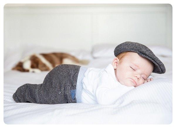 Baby and sleeping dog