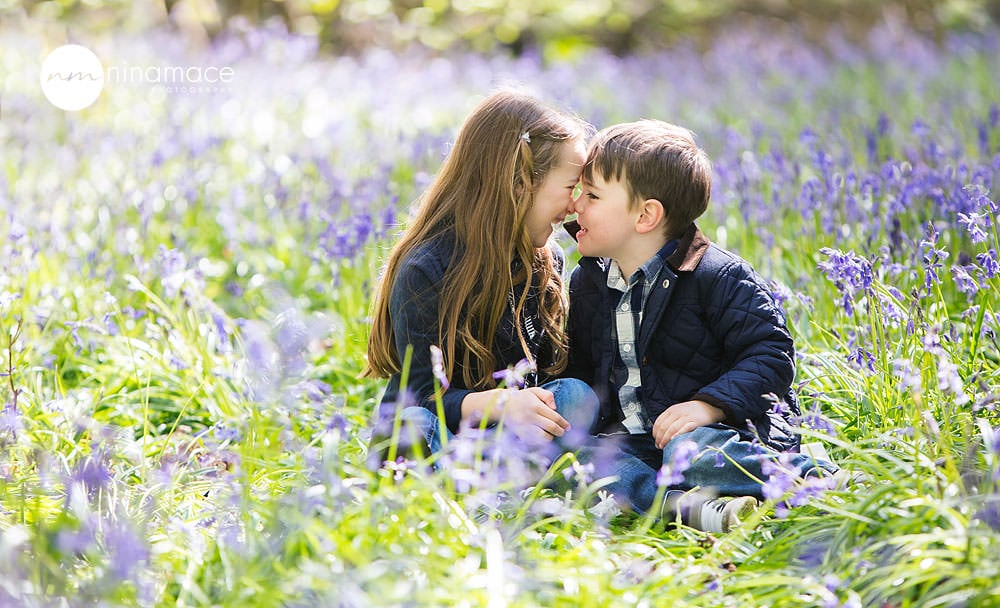 brother and sister in bluebells