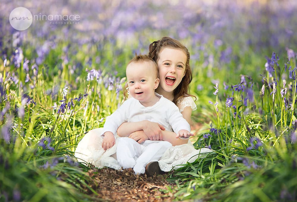 baby in bluebells