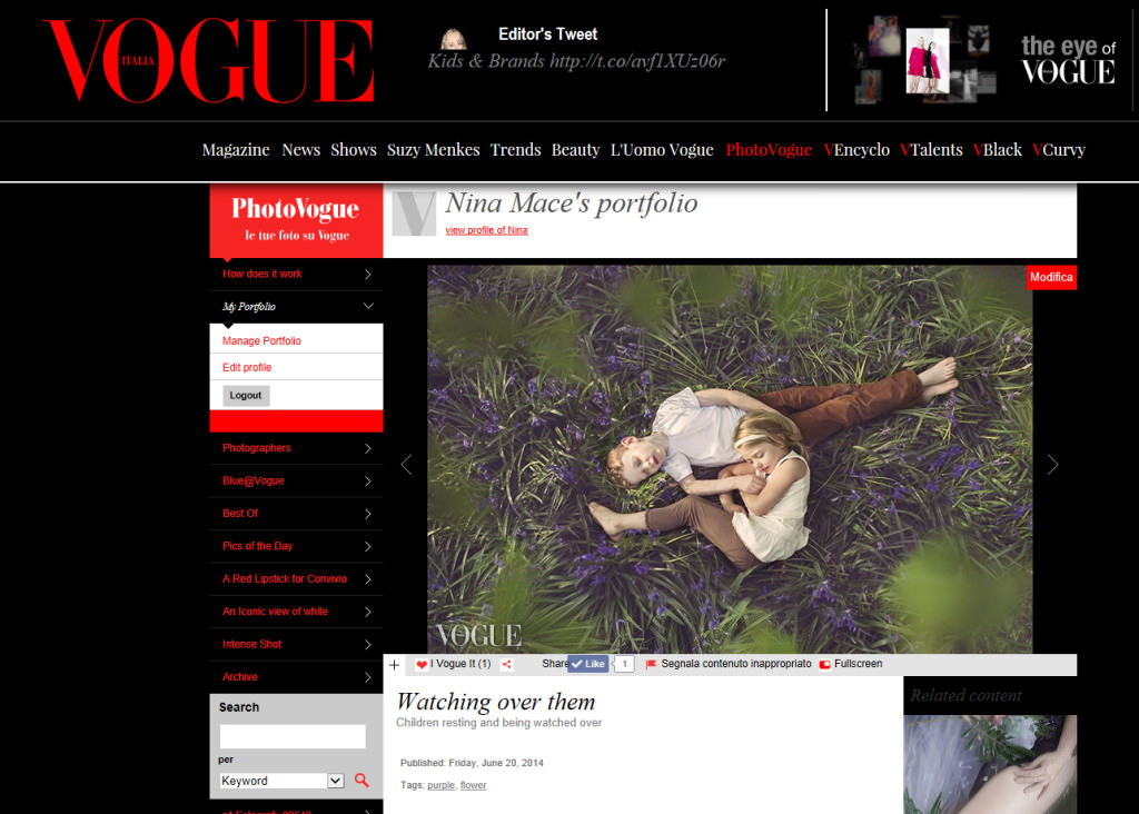 Nina Mace Photography in Vogue