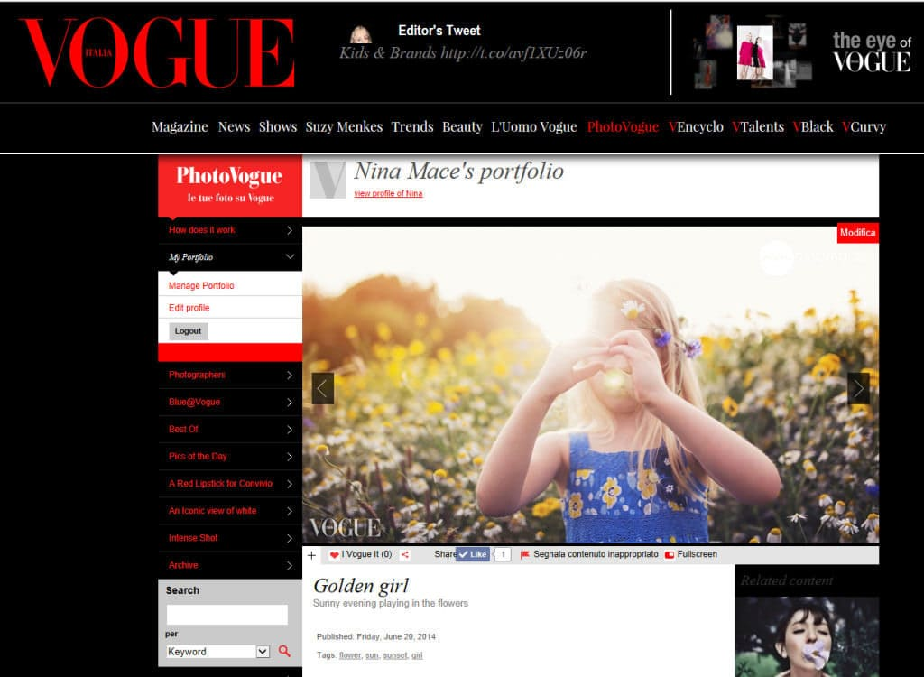Nina Mace Photography features on Vogue