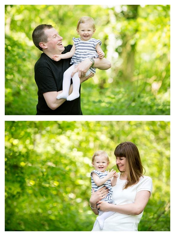 little girl with mum and dad Outdoor family photo session