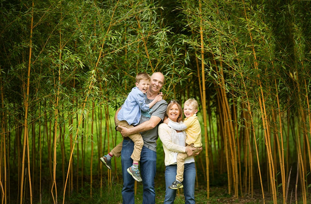 Family in greenery