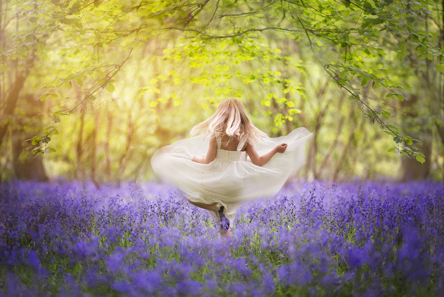 girl photographed in bluebells