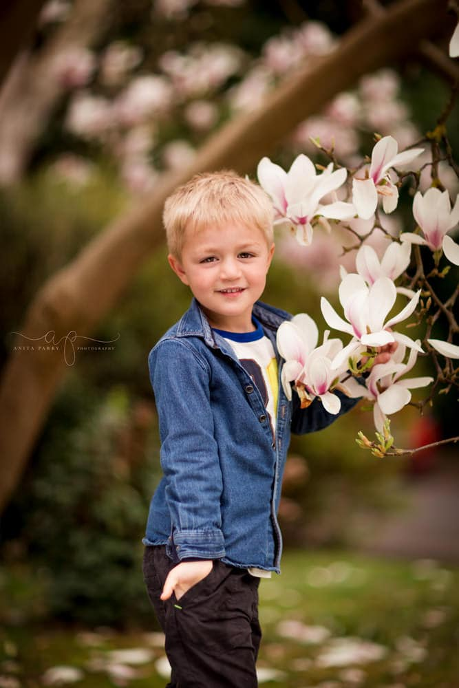 boy in flowers