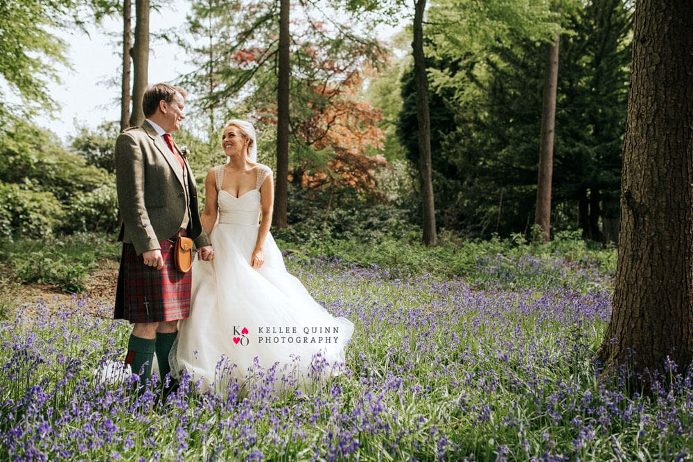 Scotland wedding couple in bluebells