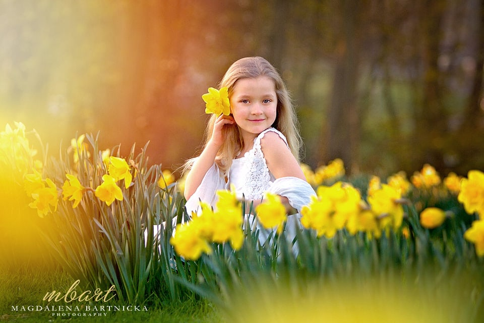 Girl in daffodils