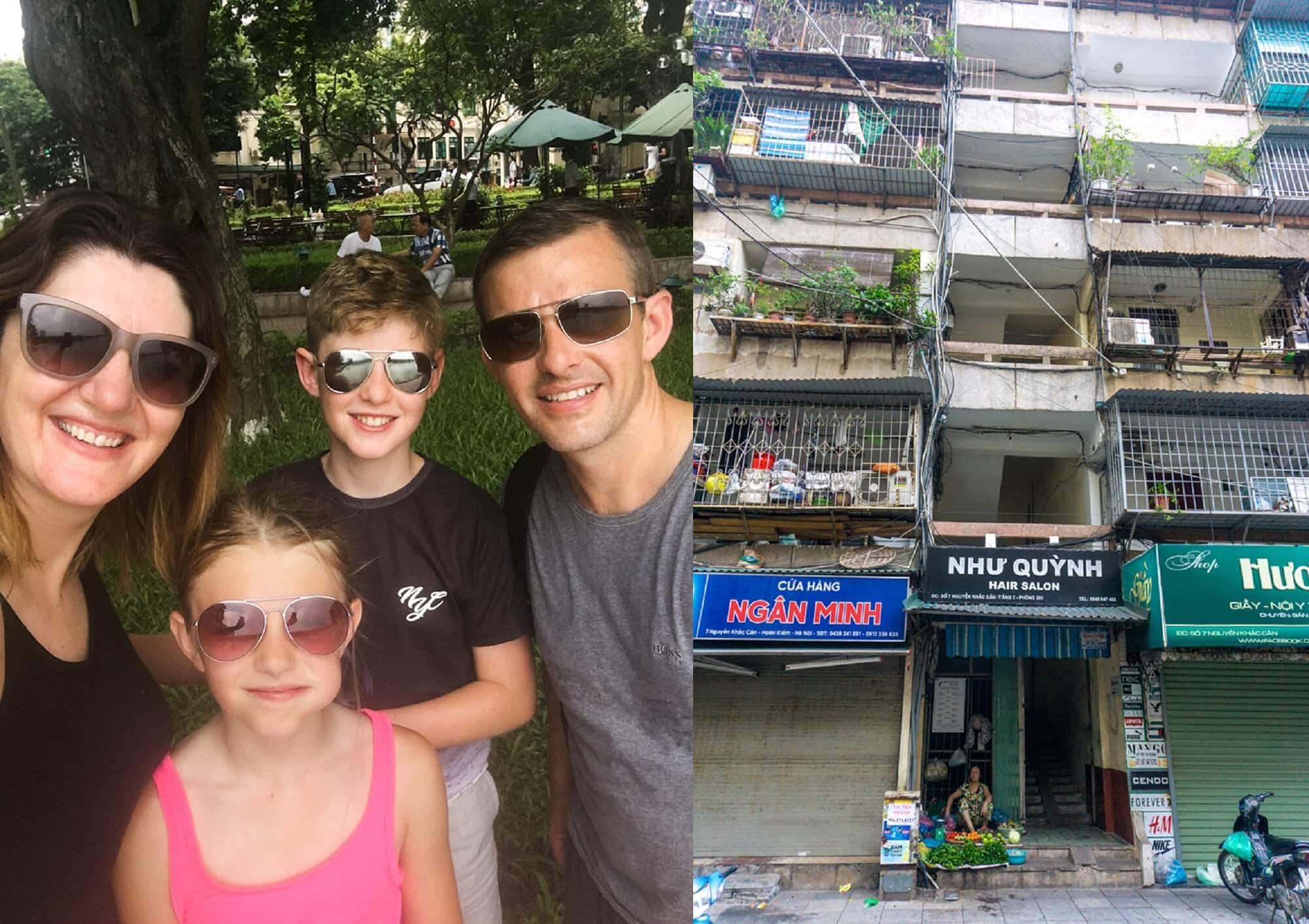 Family backpacking in Vietnam