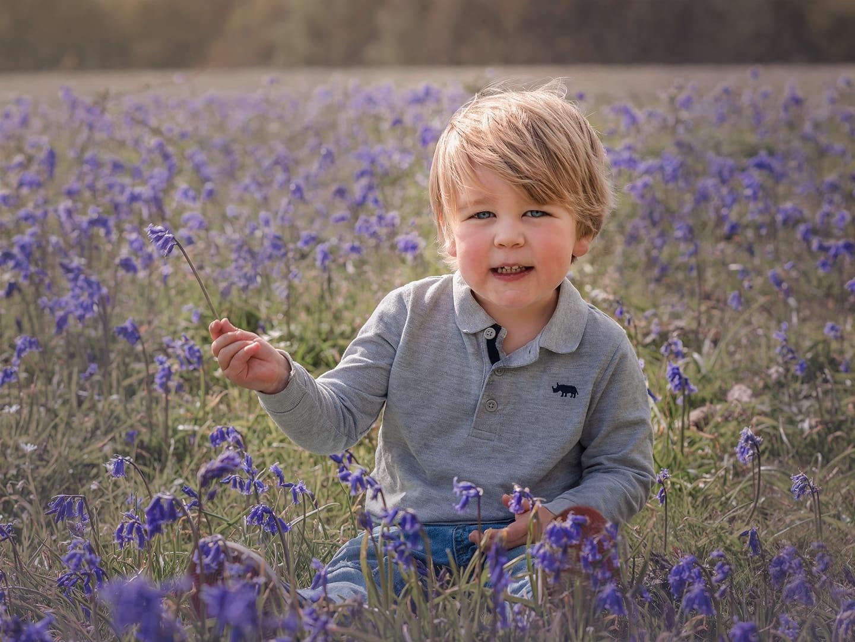 little boy in the bluebells